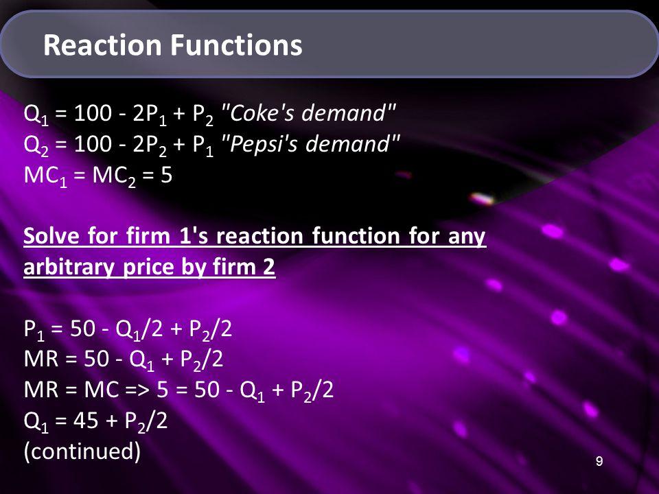 10 Reaction Functions Q 1 = 100 - 2P 1 + P 2 Coke s demand Q 2 = 100 - 2P 2 + P 1 Pepsi s demand MC 1 = MC 2 = 5 Q 1 = 45 + P 2 /2 Continue Solving for the reaction function Q 1 = Q 1 100 - 2P 1 + P 2 = 45 + P 2 /2 P 1 = 27.5 + P 2 /4 Likewise, P 2 = 27.5 + P 1 /4