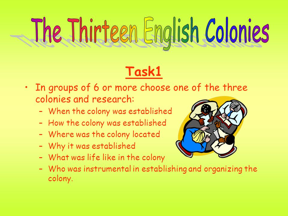 Task1 In groups of 6 or more choose one of the three colonies and research: –When the colony was established –How the colony was established –Where wa