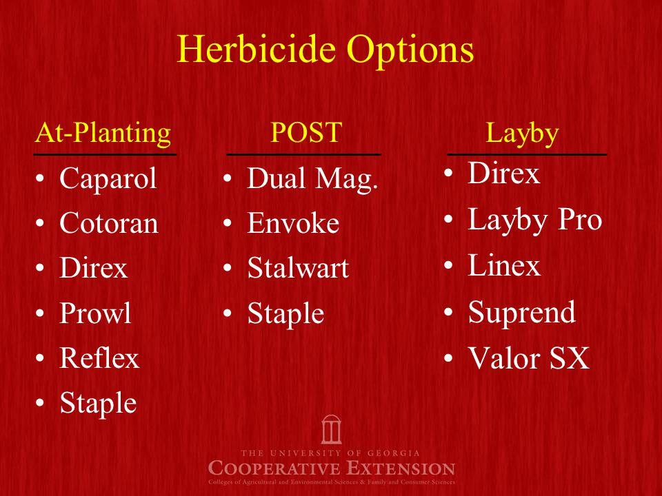 Herbicide Options Caparol Cotoran Direx Prowl Reflex Staple Direx Layby Pro Linex Suprend Valor SX Dual Mag.