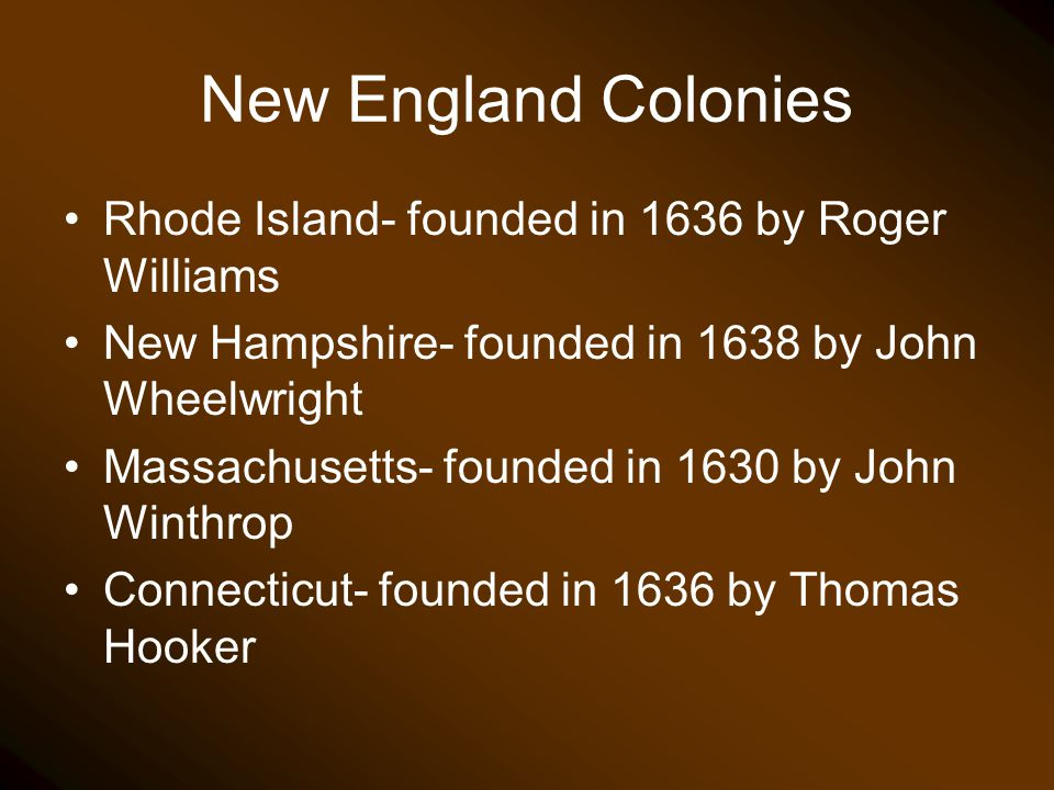 New England Colonies Rhode Island- founded in 1636 by Roger Williams New Hampshire- founded in 1638 by John Wheelwright Massachusetts- founded in 1630
