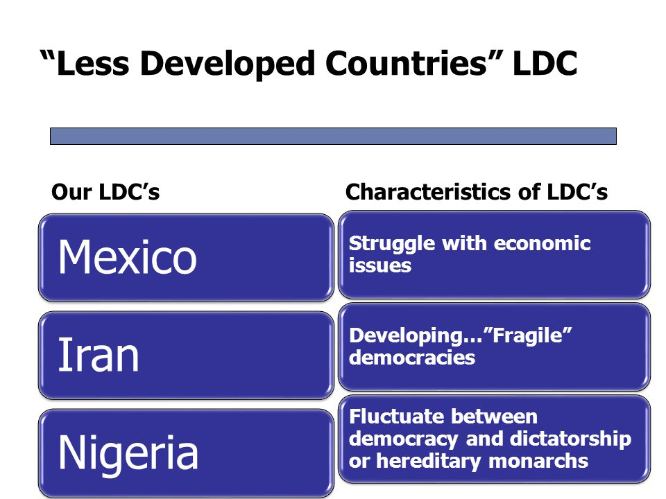 Two Categories of LDC's Newly Industrializing South Korea is a good example of a country that made the transition from NIC to advanced democracy.