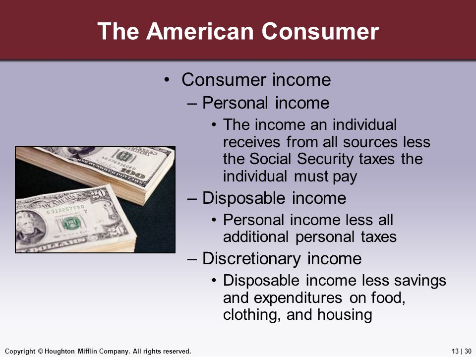 Copyright © Houghton Mifflin Company. All rights reserved.13 | 30 The American Consumer Consumer income –Personal income The income an individual rece