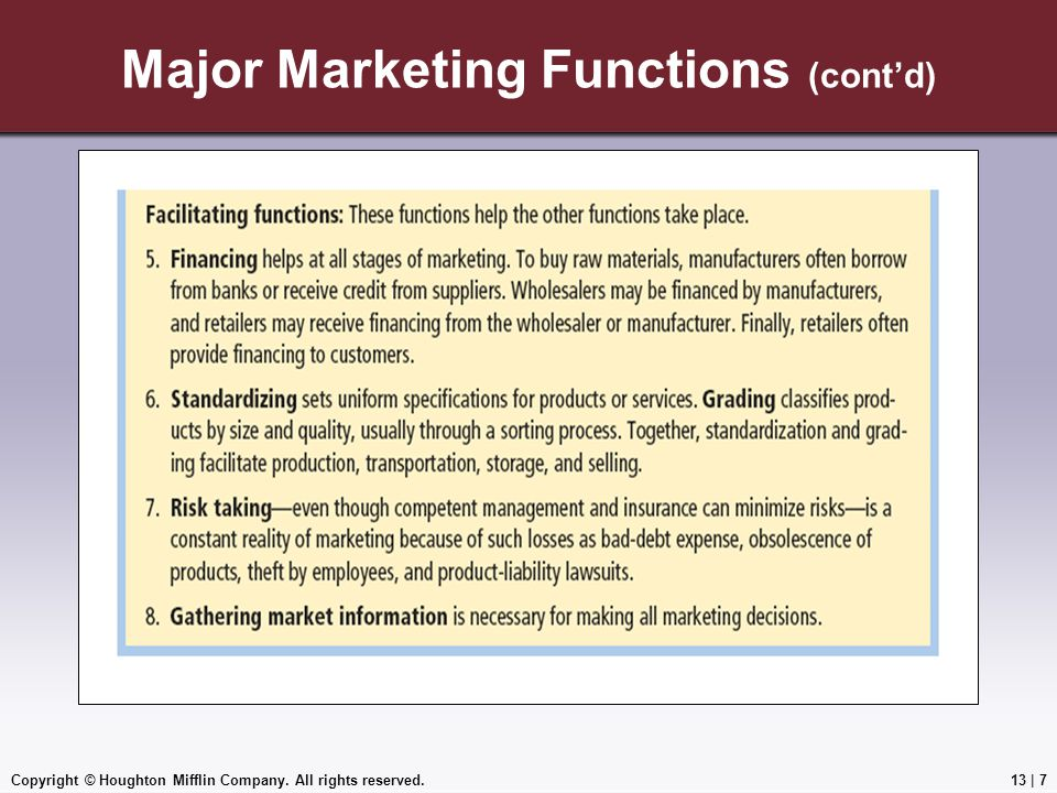 Copyright © Houghton Mifflin Company. All rights reserved.13 | 7 Major Marketing Functions (cont'd)
