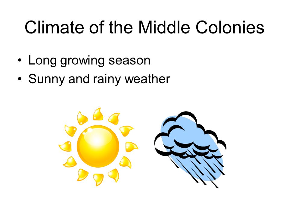 Climate of the Middle Colonies Long growing season Sunny and rainy weather