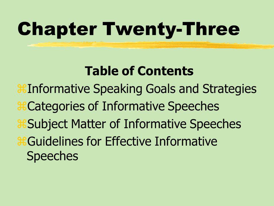 Subject matter of informative speeches zSpeeches about Objects zSpeeches about People zSpeeches about Events zSpeeches about Processes zSpeeches about Concepts zSpeeches about Issues