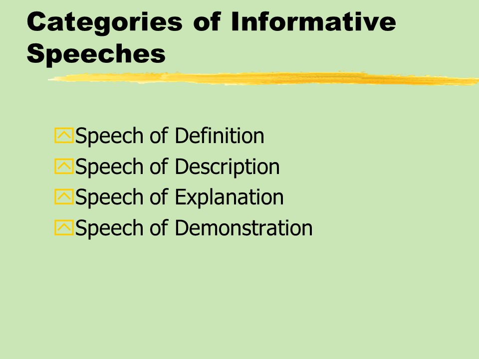 Subject matter of Informative Speeches: Speeches about Concepts zFocus on abstract or complex ideas or theories and an attempt to make them concrete and understandable