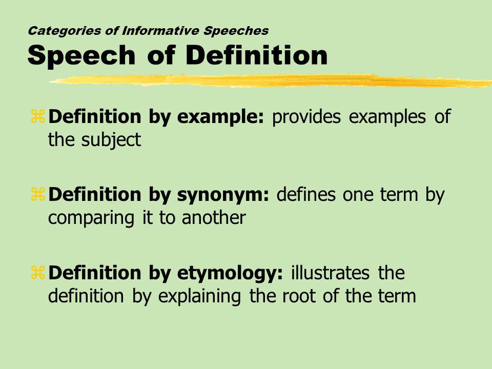 kinds of informative speaking