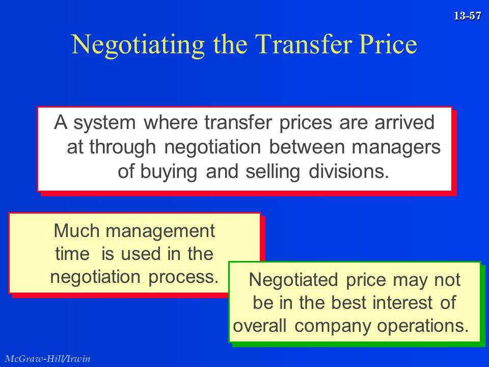 McGraw-Hill/Irwin 13-57 Negotiating the Transfer Price A system where transfer prices are arrived at through negotiation between managers of buying an