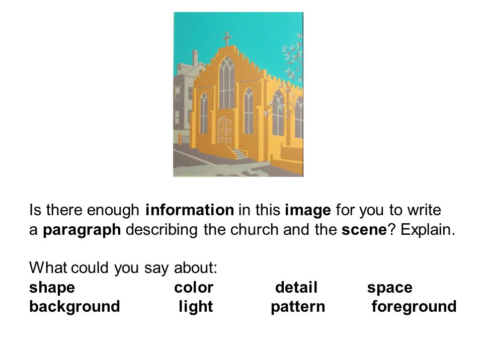 Is there enough information in this image for you to write a paragraph describing the church and the scene.