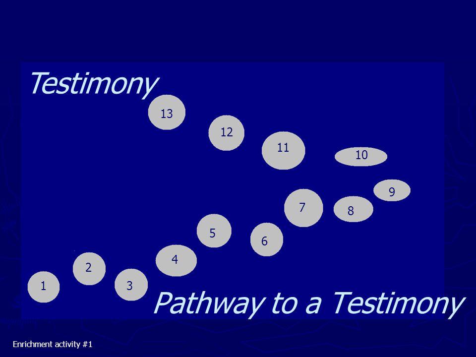 ►► ►► ►► ►► Enrichment activity #1 Testimony Pathway to a Testimony 1 2 3 4 5 6 7 8 9 10 11 12 13