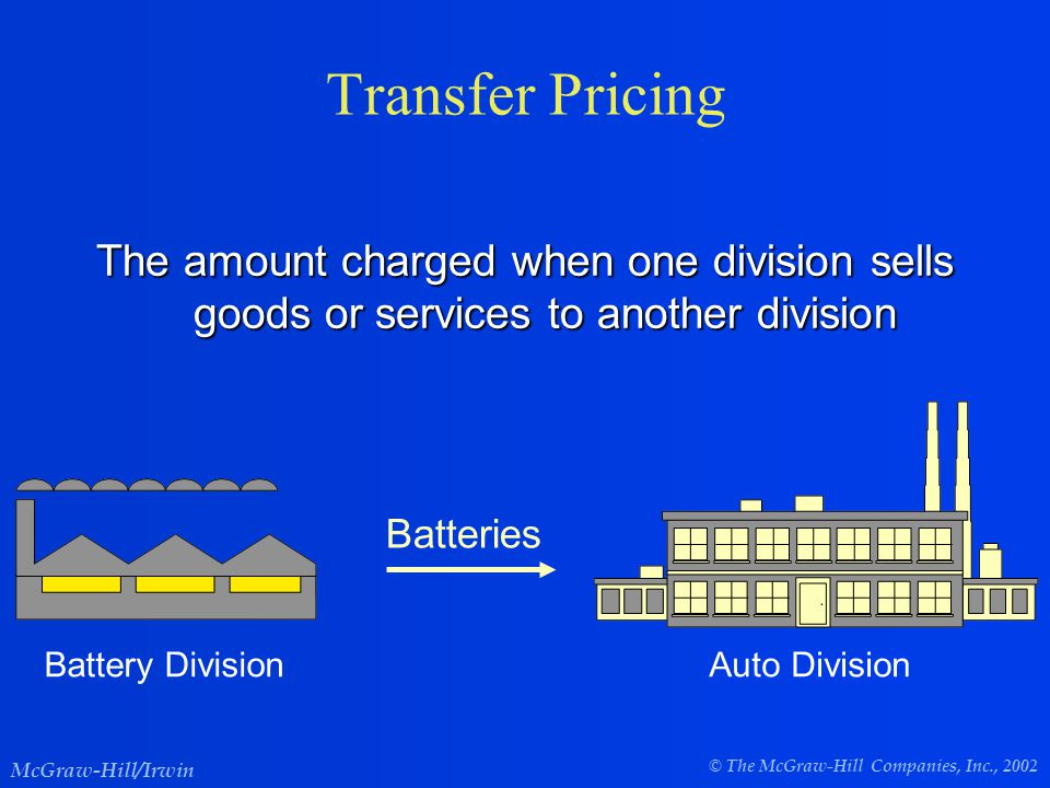 © The McGraw-Hill Companies, Inc., 2002 McGraw-Hill/Irwin Transfer Pricing The amount charged when one division sells goods or services to another division Battery DivisionAuto Division Batteries