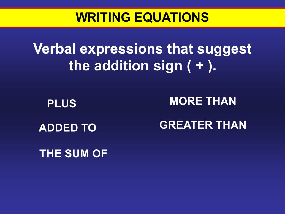 WRITING EQUATIONS Verbal expressions that suggest the addition sign ( + ).