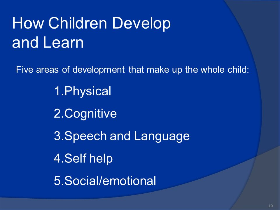 How Children Develop and Learn 10 Five areas of development that make up the whole child: 1.Physical 2.Cognitive 3.Speech and Language 4.Self help 5.S