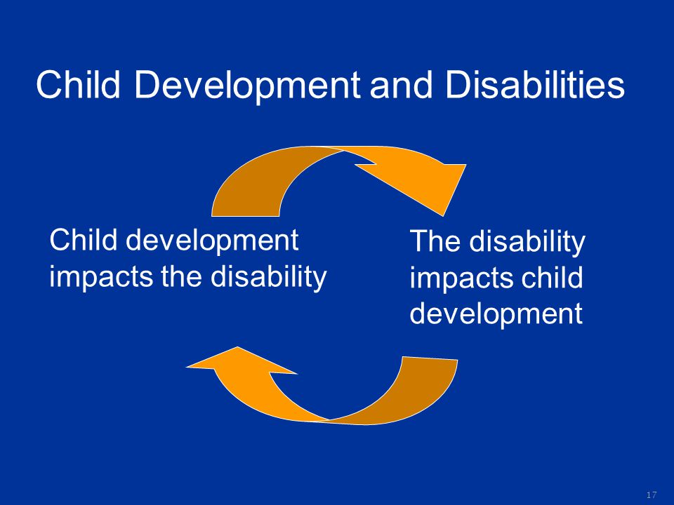 Child Development and Disabilities Child development impacts the disability The disability impacts child development 17