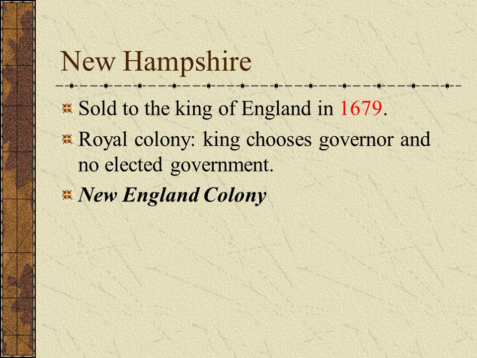 NEW HAMPSHIRE- New England FIRST SETTLEMENT Exeter FOUNDED 1623 LEADER John Wheelwright