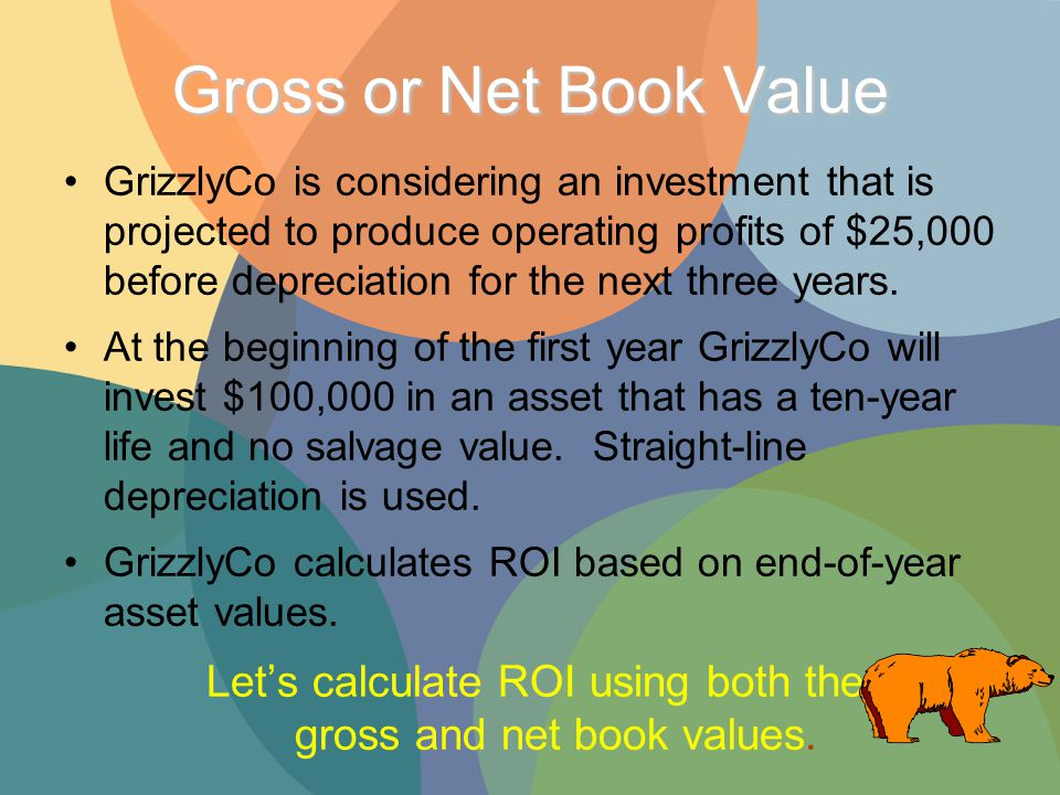Gross or Net Book Value GrizzlyCo is considering an investment that is projected to produce operating profits of $25,000 before depreciation for the next three years.