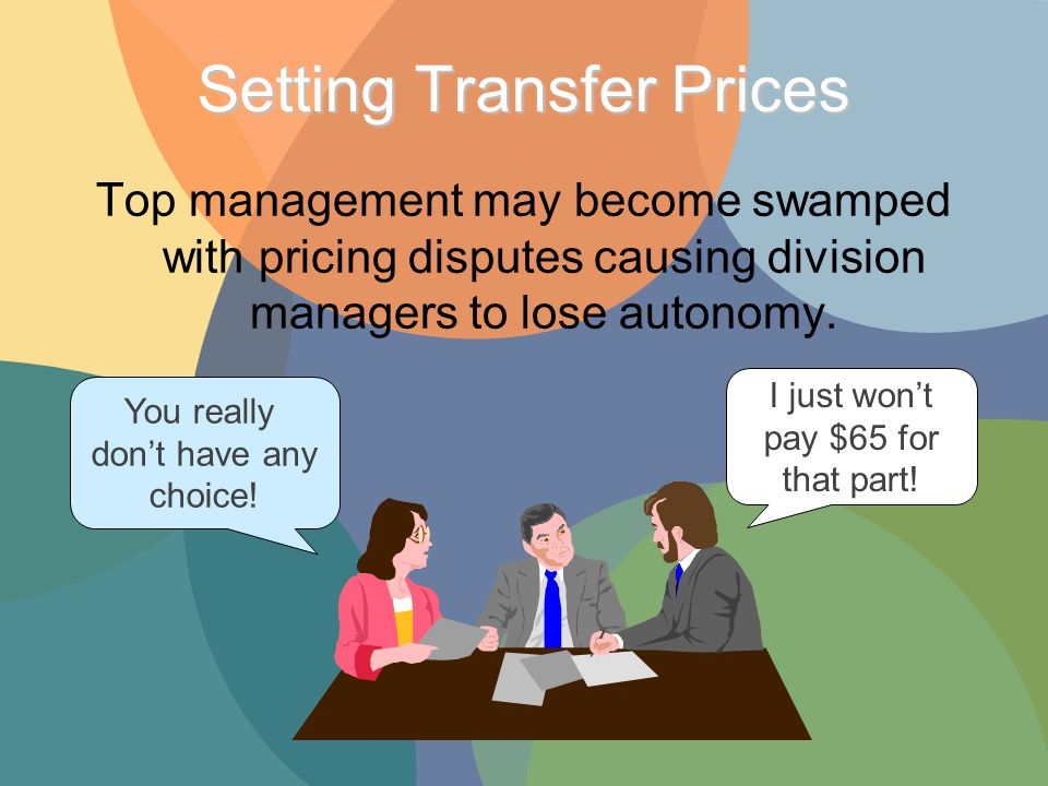 Top management may become swamped with pricing disputes causing division managers to lose autonomy.