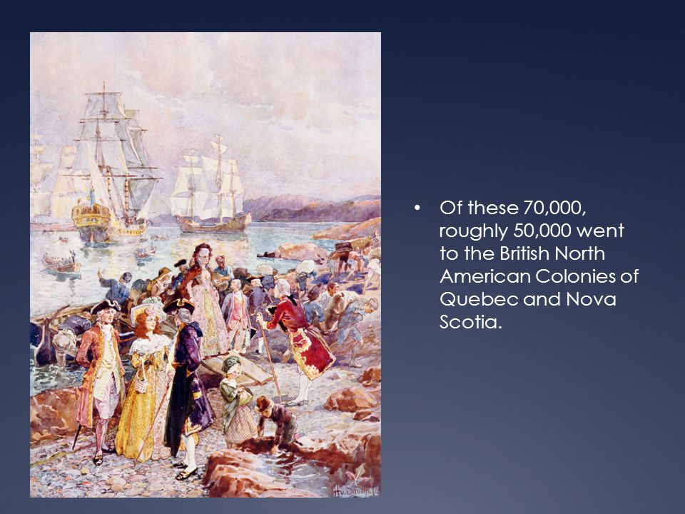 Loyalists in Nova Scotia  In the Spring of 1776 the first shipload of Loyalists left the Thirteen Colonies for Nova Scotia.