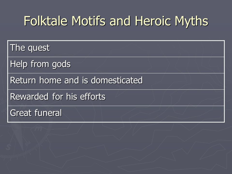 Folktale Motifs and Heroic Myths The quest Help from gods Return home and is domesticated Rewarded for his efforts Great funeral