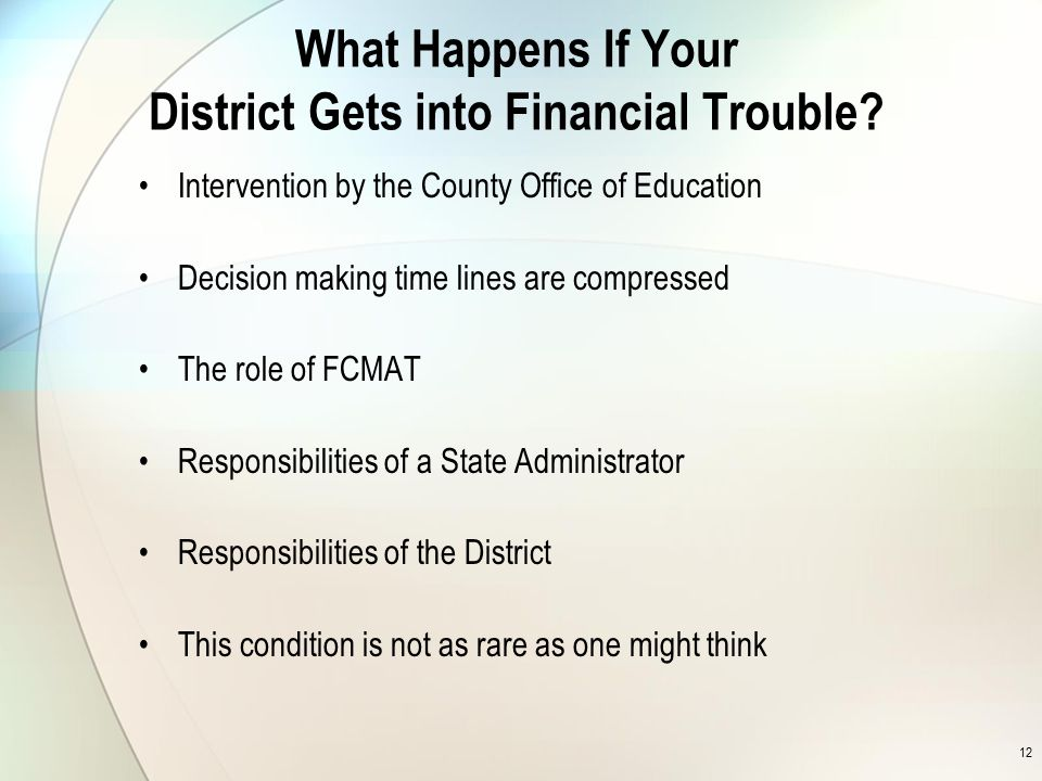 12 What Happens If Your District Gets into Financial Trouble.