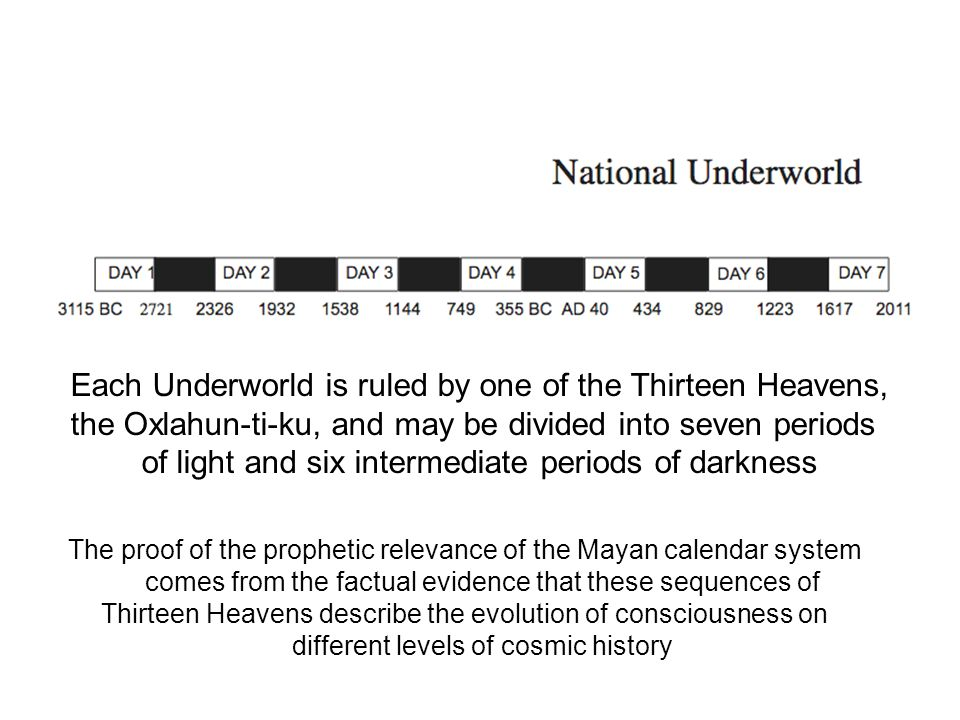 Each Underworld is ruled by one of the Thirteen Heavens, the Oxlahun-ti-ku, and may be divided into seven periods of light and six intermediate periods of darkness The proof of the prophetic relevance of the Mayan calendar system comes from the factual evidence that these sequences of Thirteen Heavens describe the evolution of consciousness on different levels of cosmic history