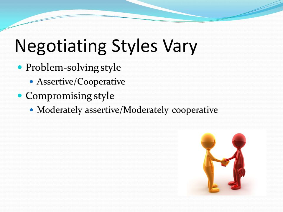 Negotiating Styles Vary Problem-solving style Assertive/Cooperative Compromising style Moderately assertive/Moderately cooperative
