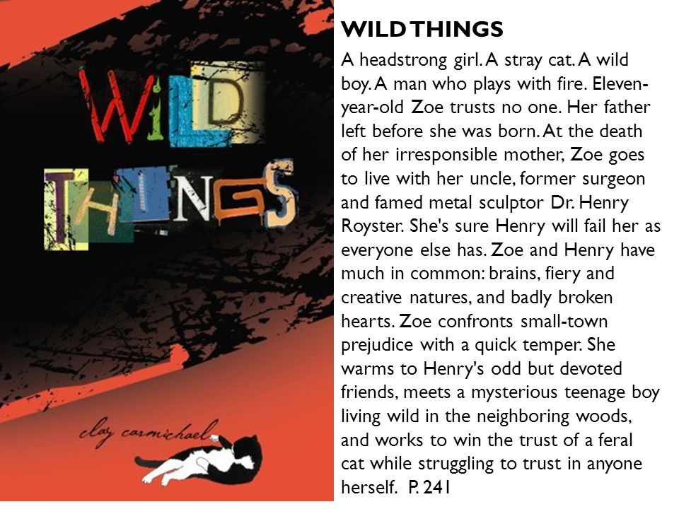 WILD THINGS A headstrong girl. A stray cat. A wild boy. A man who plays with fire. Eleven- year-old Zoe trusts no one. Her father left before she was