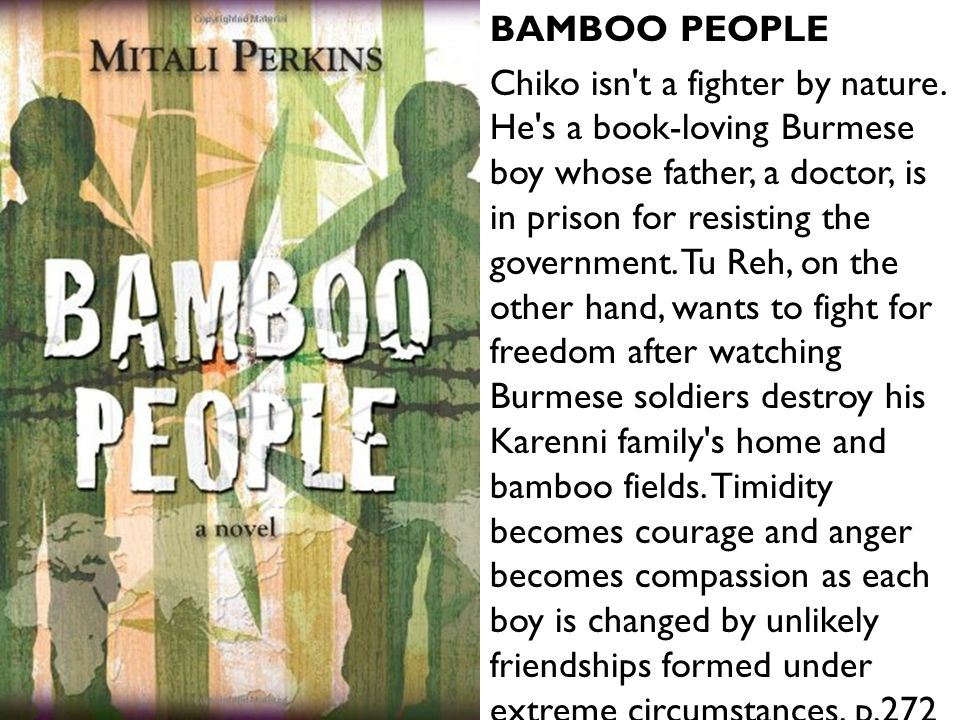 BAMBOO PEOPLE Chiko isn't a fighter by nature. He's a book-loving Burmese boy whose father, a doctor, is in prison for resisting the government. Tu Re