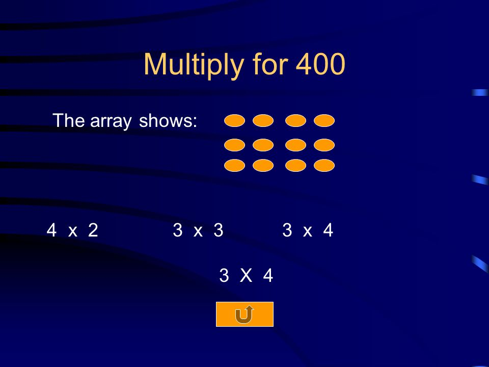 Multiply for 400 The array shows: 4 x 2 3 x 3 3 x 4 3 X 4