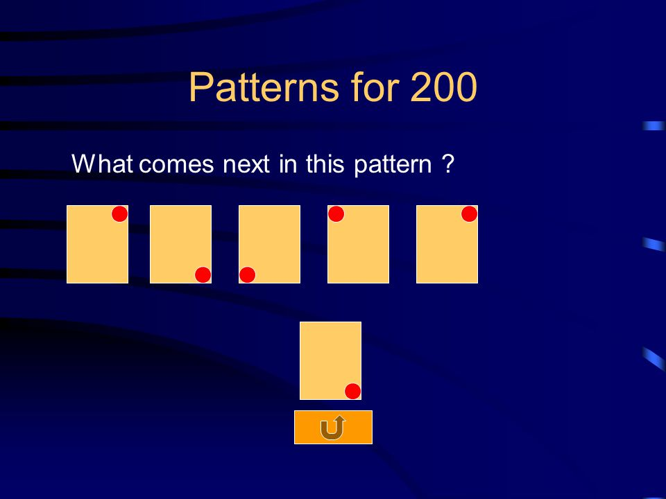 Patterns for 200 What comes next in this pattern
