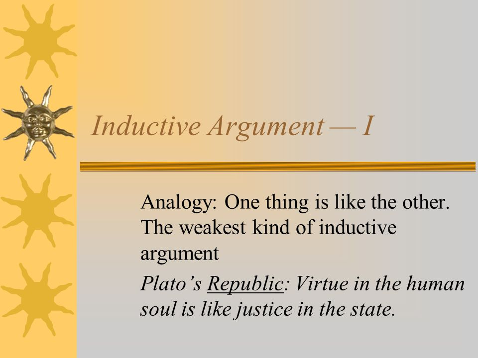 Inductive Argument — I Analogy: One thing is like the other.