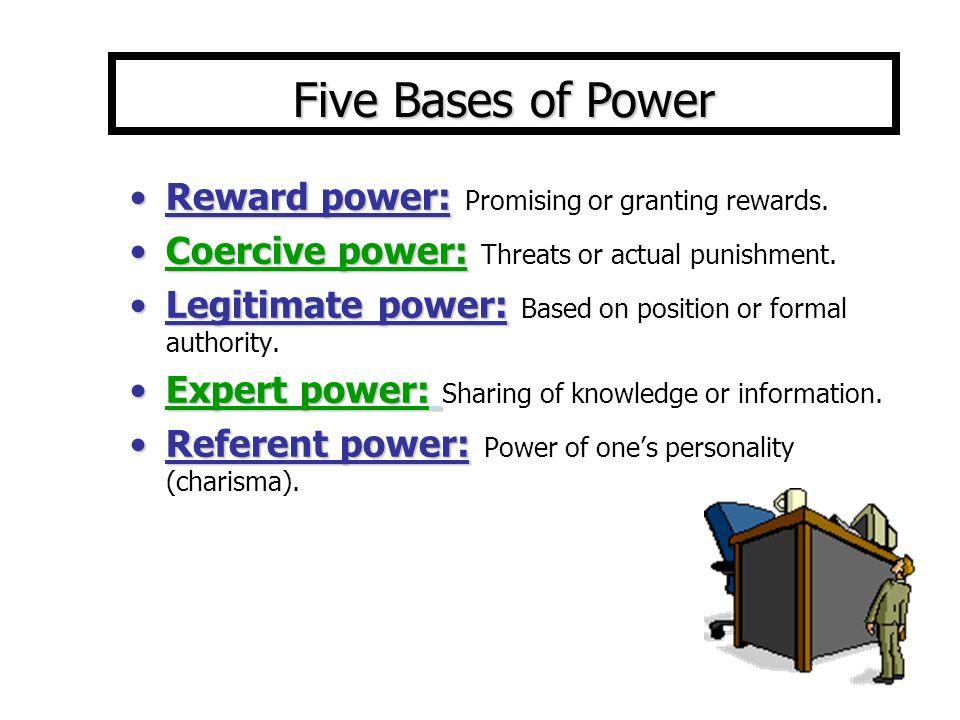 Reward power:Reward power: Promising or granting rewards.
