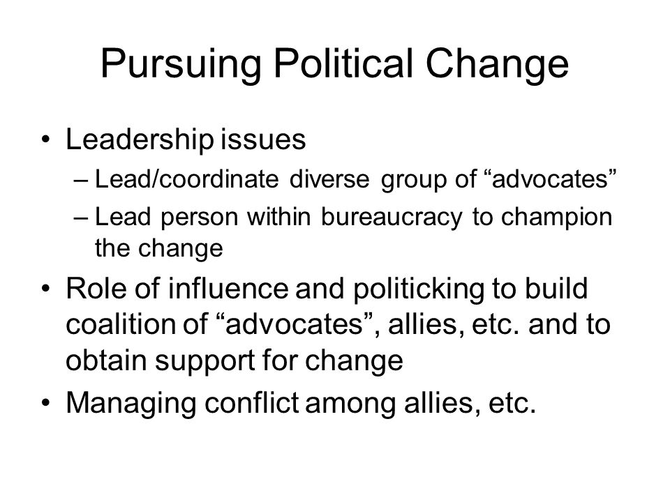 "Pursuing Political Change Leadership issues –Lead/coordinate diverse group of ""advocates"" –Lead person within bureaucracy to champion the change Role"
