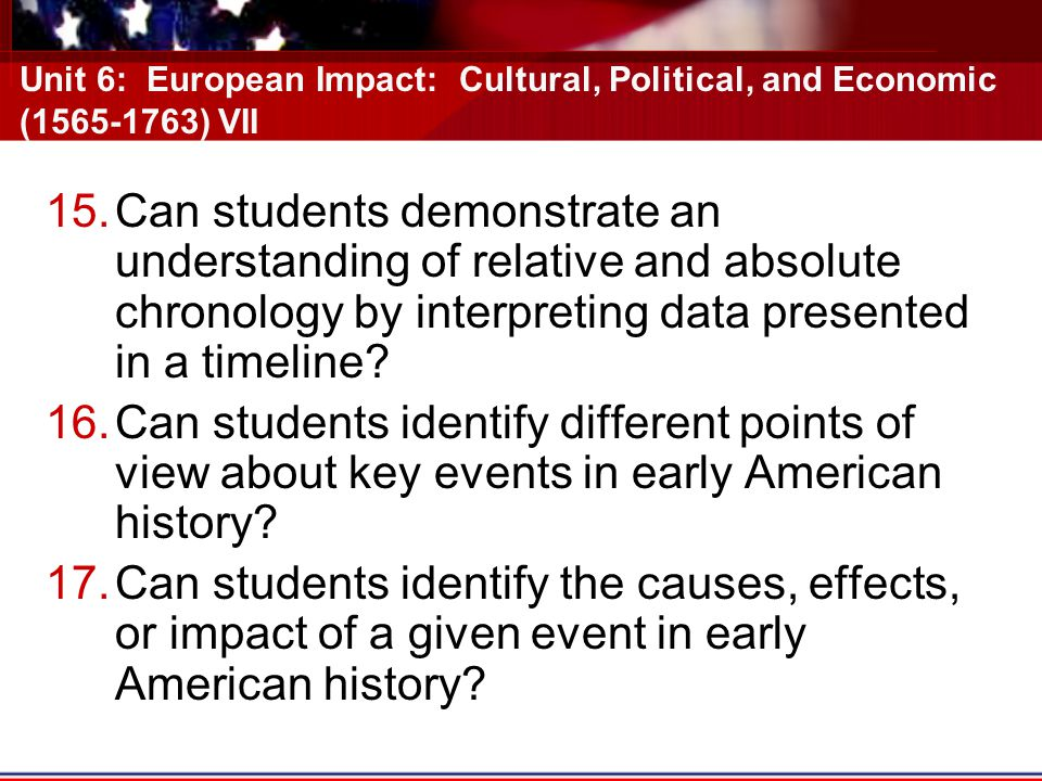 Unit 6: European Impact: Cultural, Political, and Economic (1565-1763) VII 15.Can students demonstrate an understanding of relative and absolute chronology by interpreting data presented in a timeline.