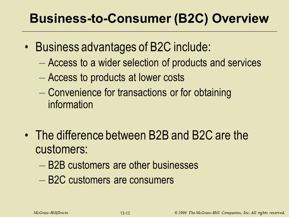 McGraw-Hill/Irwin © 2006 The McGraw-Hill Companies, Inc. All rights reserved. 13-13 Business-to-Consumer (B2C) Overview Business advantages of B2C inc
