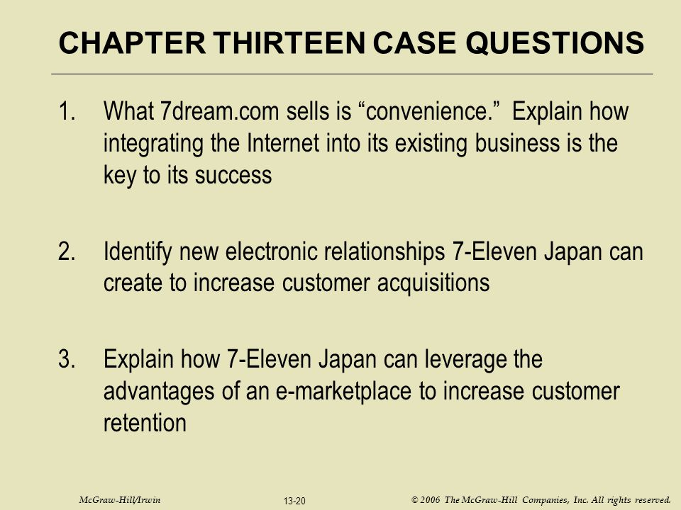 "McGraw-Hill/Irwin © 2006 The McGraw-Hill Companies, Inc. All rights reserved. 13-20 CHAPTER THIRTEEN CASE QUESTIONS 1.What 7dream.com sells is ""conven"