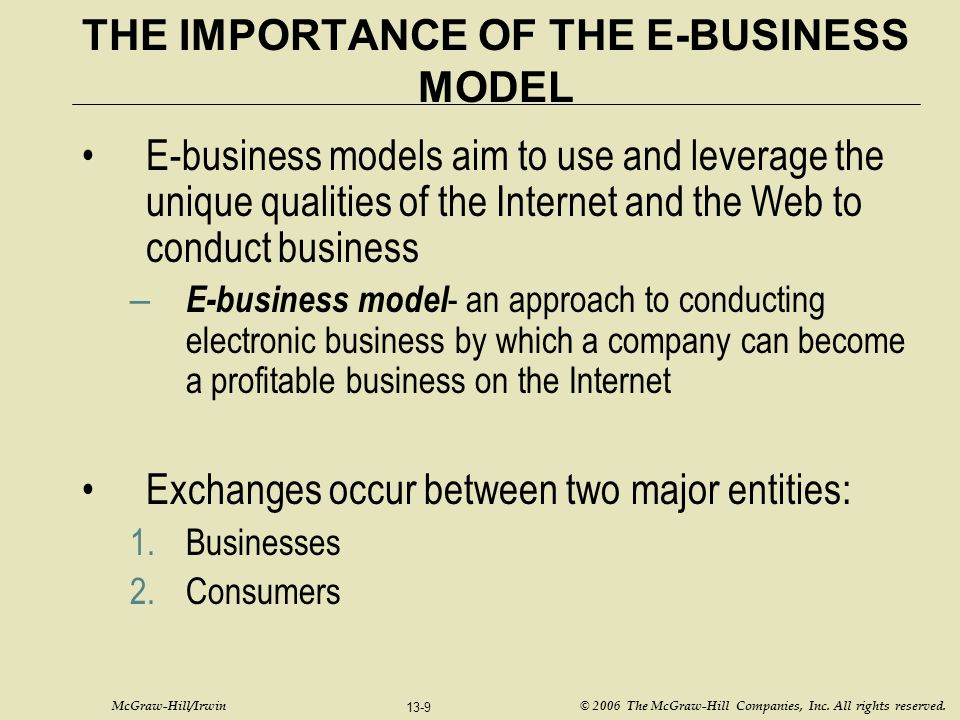 McGraw-Hill/Irwin © 2006 The McGraw-Hill Companies, Inc. All rights reserved. 13-9 THE IMPORTANCE OF THE E-BUSINESS MODEL E-business models aim to use