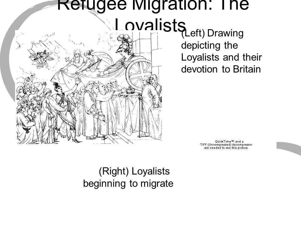 Refugee Migration: The Loyalists (Left) Drawing depicting the Loyalists and their devotion to Britain (Right) Loyalists beginning to migrate