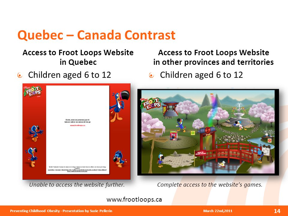 Quebec – Canada Contrast Access to Froot Loops Website in Quebec Children aged 6 to 12 Unable to access the website further.