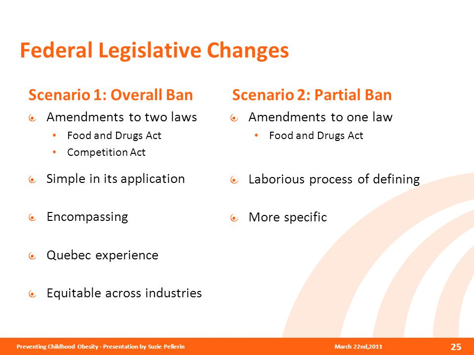 Federal Legislative Changes Scenario 1: Overall Ban Amendments to two laws Food and Drugs Act Competition Act Simple in its application Encompassing Quebec experience Equitable across industries Scenario 2: Partial Ban Amendments to one law Food and Drugs Act Laborious process of defining More specific March 22nd,2011Preventing Childhood Obesity - Presentation by Suzie Pellerin 25