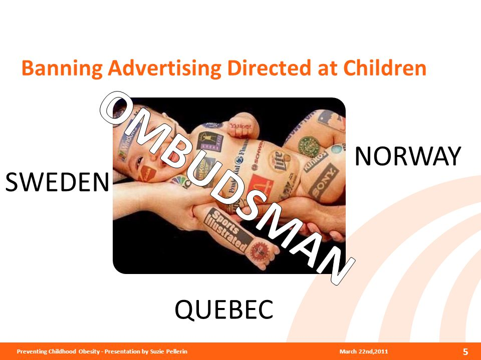 Banning Advertising Directed at Children March 22nd,2011Preventing Childhood Obesity - Presentation by Suzie Pellerin 5 QUEBEC NORWAY SWEDEN