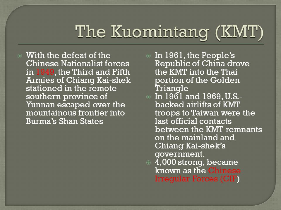  With the defeat of the Chinese Nationalist forces in 1949, the Third and Fifth Armies of Chiang Kai-shek stationed in the remote southern province o