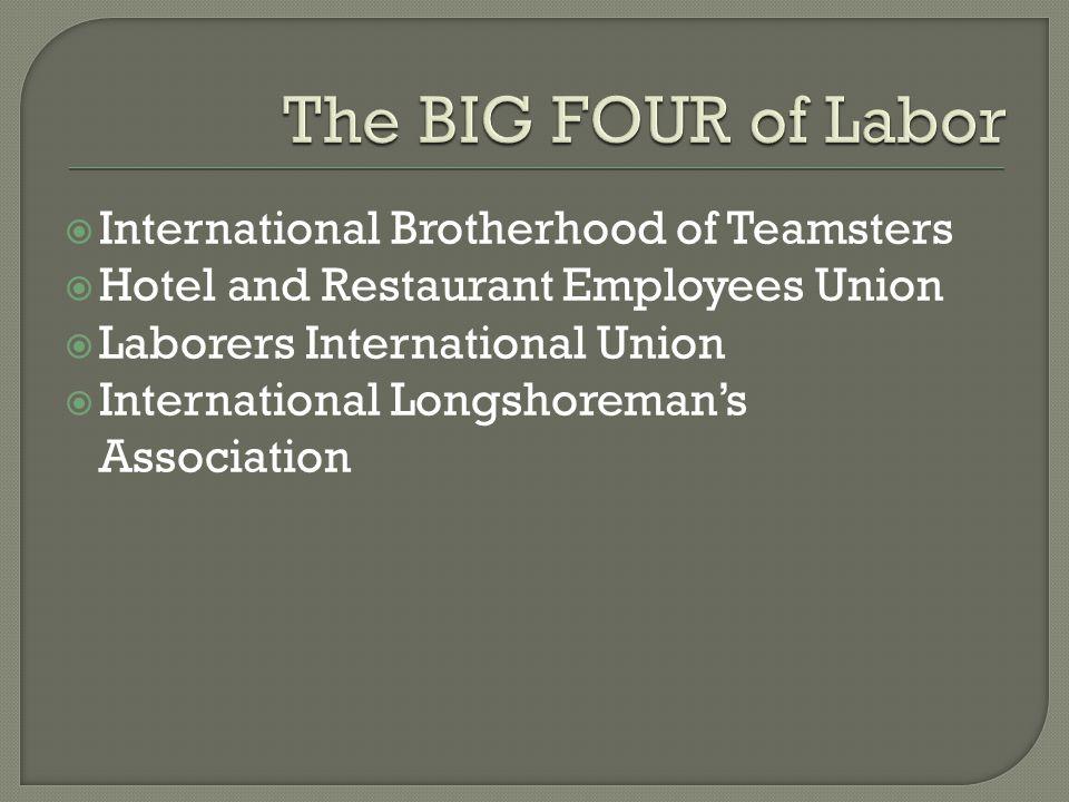  International Brotherhood of Teamsters  Hotel and Restaurant Employees Union  Laborers International Union  International Longshoreman's Associat
