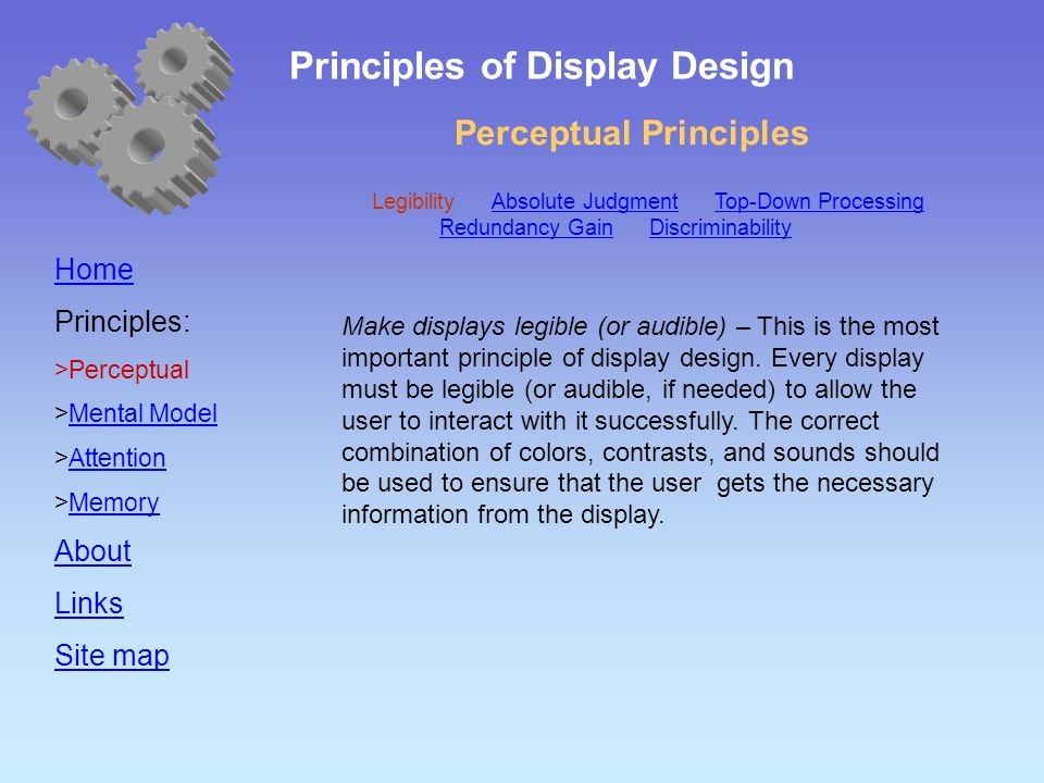 Perceptual Principles Home Principles:  Perceptual  Mental Model Mental Model  Attention Attention  Memory Memory About Links Site map Make displays legible (or audible) – This is the most important principle of display design.