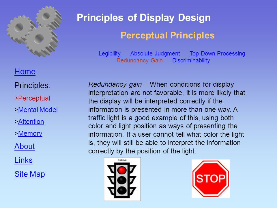 Perceptual Principles Home Principles:  Perceptual  Mental Model Mental Model  Attention Attention  Memory Memory About Links Site Map Redundancy gain – When conditions for display interpretation are not favorable, it is more likely that the display will be interpreted correctly if the information is presented in more than one way.