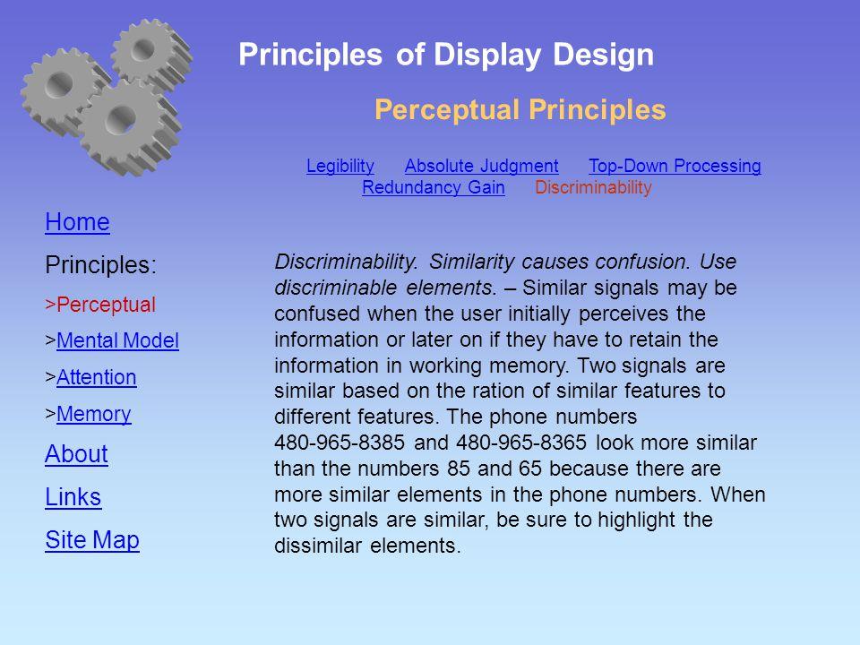 Perceptual Principles Home Principles:  Perceptual  Mental Model Mental Model  Attention Attention  Memory Memory About Links Site Map Discriminability.