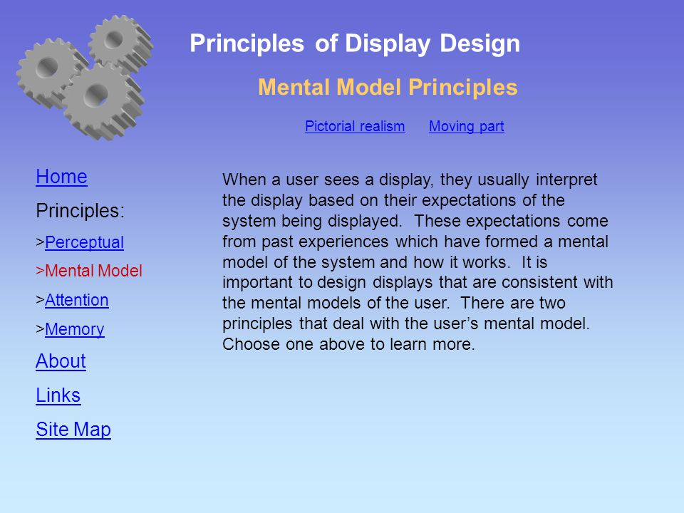 Mental Model Principles Home Principles:  Perceptual Perceptual  Mental Model  Attention Attention  Memory Memory About Links Site Map When a user