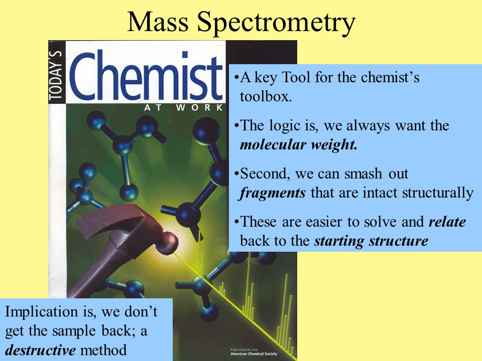 Mass Spectrometry A key Tool for the chemist's toolbox.