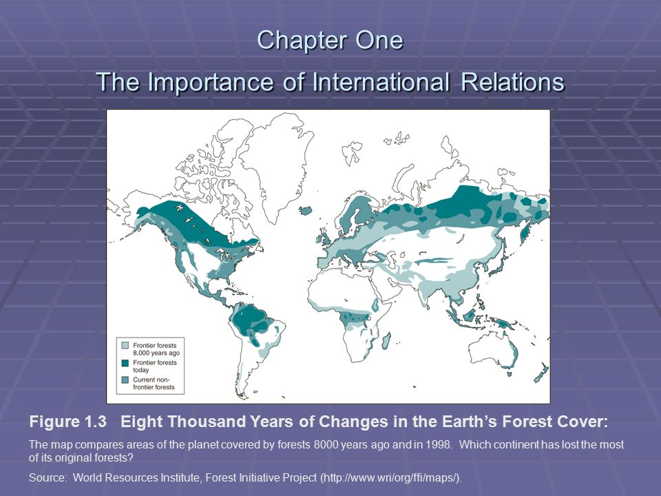 Chapter One The Importance of International Relations Figure 1.3 Eight Thousand Years of Changes in the Earth's Forest Cover: The map compares areas of the planet covered by forests 8000 years ago and in 1998.