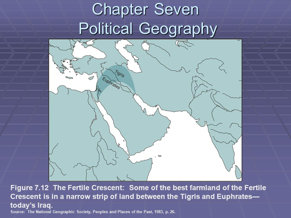 Chapter Seven Political Geography Figure 7.12 The Fertile Crescent: Some of the best farmland of the Fertile Crescent is in a narrow strip of land between the Tigris and Euphrates— today's Iraq.